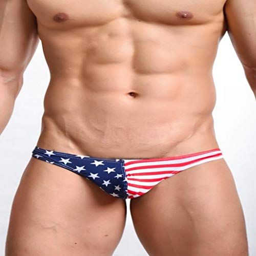 Men's American Flag Printed Sexy Thongs G-String Underwear Jockstrap Briefs Underpants Shorts(Multi-Color,L) Fashion Comfy ()