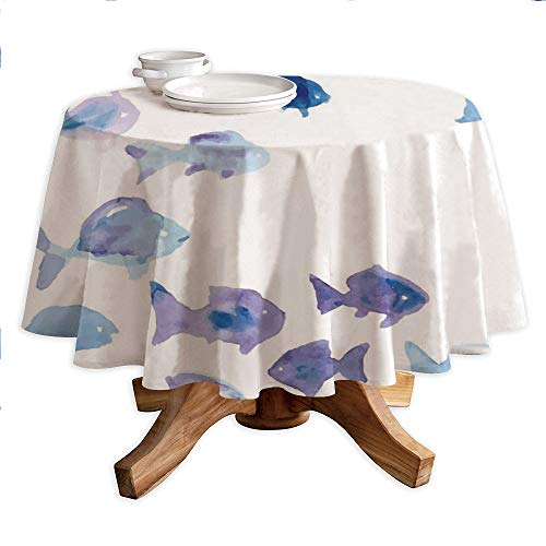 Animal Round Polyester Tablecloth,Cute Little Fishes Watercolors Ocean Underwater Life Marine Theme Artwork,Dining Room Kitchen Round Table Cover,60