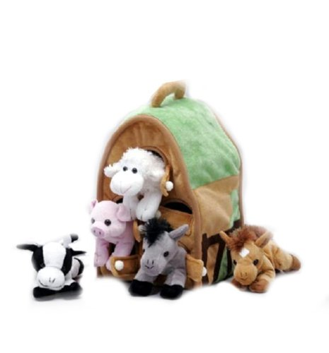 Plush-Farm-House-with-Animals-Five-5-Stuffed-Farm-Animals-Horse-Lamb-Cow-Pig-Grey-Horse-in-Play-Farm-House
