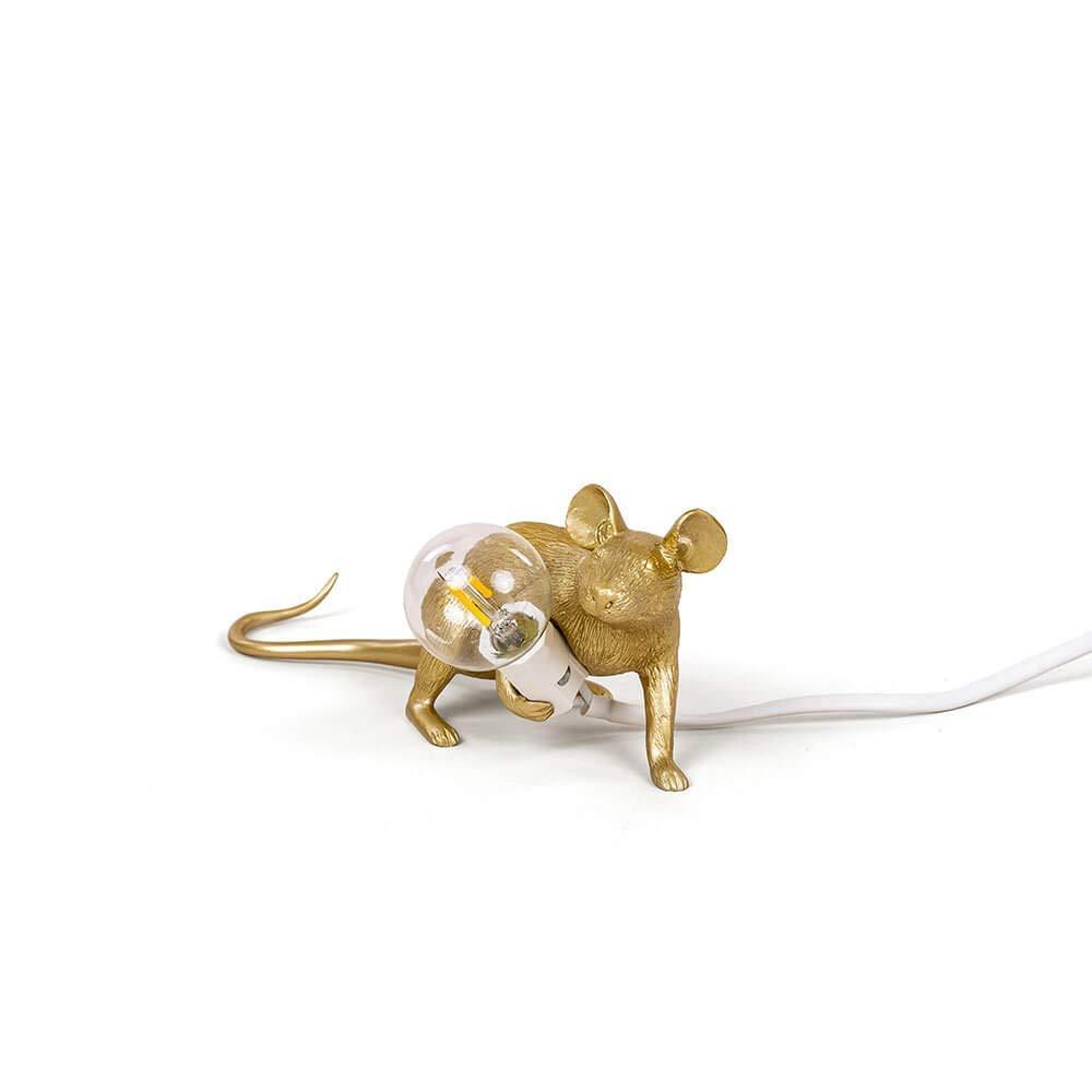 HPSD Lámparas Ratón de Escritorio Lámpara Resina Ratón Lámparas Lámpara LED Protección de los Ojos Decoración Animal Lámpara de Mesa Dorado (Sin Fuente de luz (Tamaño : C) b62235