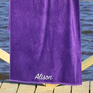 "Personalized Any Name Purple 30"" x 60"" Beach Towel, Cotton Loop Terry Fabric"