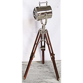 Royal Designer Chrome Searchlight with Wooden Tripod Stand Spot Light Studio Table Lamp