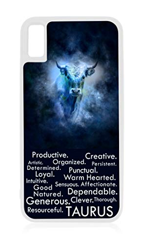 Taurus Zodiac Personality Character Traits White Rubber Case for iPhone XR - iPhone XR Phone Case - iPhone XR Accessories ()