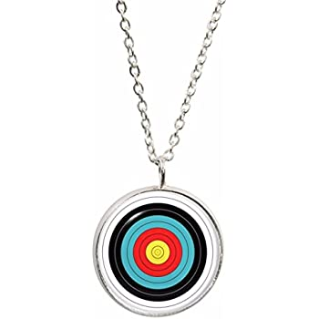 Archery Target Design Pendant With Silver Plated Necklace In Gift Box