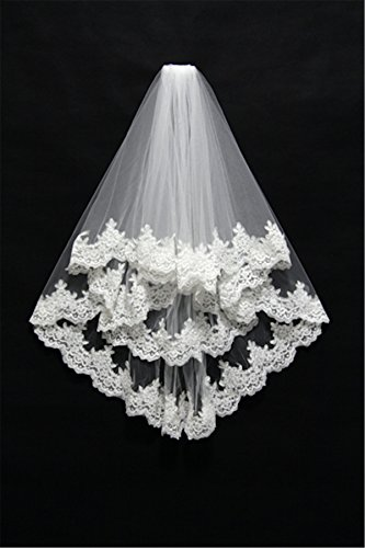 2 Tiers Flower Blooming Wedding Veilswith Exquisite Lace Applique BRV0018