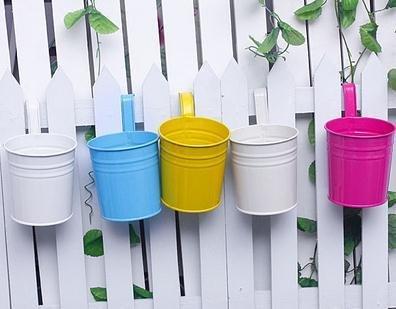 Kingbuy (5PCS) Metal Iron Hanging Basket Flower Pot Hanging Balcony Garden Plant Planter Home Décor-Random color (Hanging Basket Flower Pots compare prices)