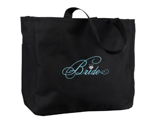 Hortense B. Hewitt Wedding Accessories Black with Aqua Bridal Party Tote Bag, Bride Diamond, 12 by 14-Inch