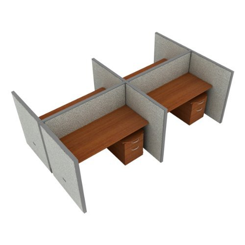 2x2 Configuration w/ Full 3' 11'' Height Panel and Pedestal (5' W Desk) by OFM