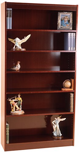 Norsons Industries Essentials Laminate Bookcase, 72-Inch, 1-Inch Thick Adjustable Steel Reinforced Shelves, Mahogany