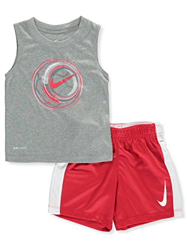 NIKE Baby Boys' 2-Piece Short Set Outfit - Dark Gray Heather, 12 Months