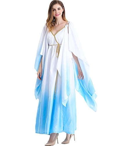 Greek Goddess Costumes Patterns (Aifang Women's Halloween Costume Glorious Greek Goddess Egyptian Queen Sexy Long Gown Cosplay L)