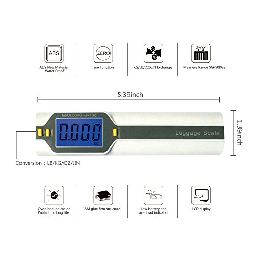 Bien Venida Digital Hanging Luggage Weight Scale with Measure1 Pack CH-150/100LB Capacity by Bien Venida (Image #8)