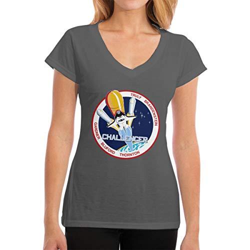 YONG-SHOP Vintage NASA Challenger Womens T Shirt Casual Cotton Short Sleeve V-Neck Graphic T-Shirt Tops Tees Deep Heather