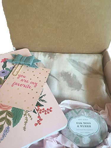 Gift Box Set- Lightweight Scarf Trendy Feather Print, Scented Candle, Rifle Paper Notepad,Inspired Quote/Pretty Clip.Present for Mother's Day/Birthday/Thank You-Mom,Aunt,Grandma,Sister,Teacher