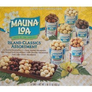 Mauna Loa Island Classics Assortment (Roasted Salted, Honey Roasted, Milk Chocolate Covered, Kona Coffee Glazed, and Maui Onion and Garlic), 6-Count, 4.5- and 5.5-Ounce Canisters (1 Gift Box)