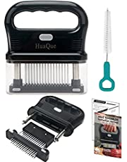 HuaQue Meat Tenderizer Tool, Detachable 48-Blade Stainless Steel Steak Tenderizer Needles for Tenderizing Beef/Chicken/Pork, Dishwasher Safe, Cleaning Brush/User Manual/Recipe Ebook (PDF) Included