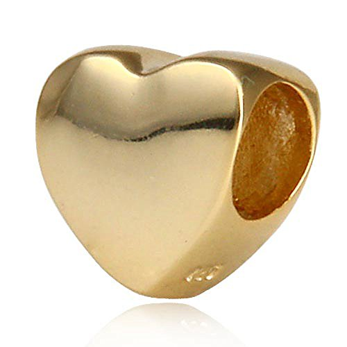 Ollia Jewelry Gold Plated 925 Sterling Silver European Style Beads Glossy Shiny Heart Charm Hold Me Firmly Charm Steadfast Love Charms (Solid Charm Heart Gold)