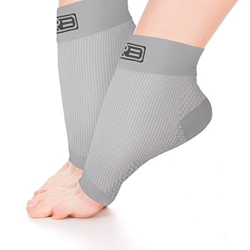 GO2 Compression Sock Ankle Sleeve Men Women - Best Plantar Fasciitis Arch Support, Injury Recovery, Injury Prevention - Relief from Joint Pain, Foot Pain, Swelling, Achy Feet (2p Gray Medium)