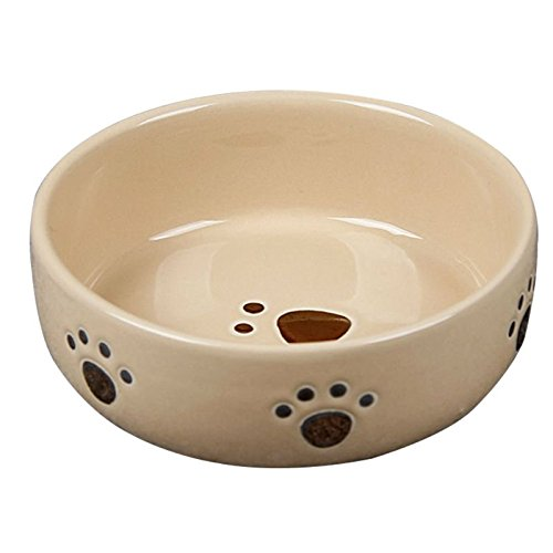 Strawhat Heavy Ceramic Dog Food Bowl / Cat Food Bowl With Dog Footprint 5 Inch