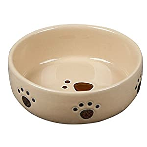 strawhat heavy ceramic dog food bowl cat food bowl with dog footprint 5 inch