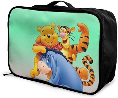 ボストンバッグ くまのプーさん キャリーオンバッグ トラベルバッグ 大容量 厚手 丈夫 荷物 折りたたみ スーツケース固定可 旅行 出張 男女兼用 かわいい おしゃれ