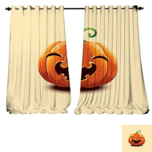 DESPKON-HOME Window Curtain Fabric Realistic Vector Halloween Pumpkin Happy face Halloween Pumpkin Isolated on Light Background Blackout Window Curtain Panel -W120 x -