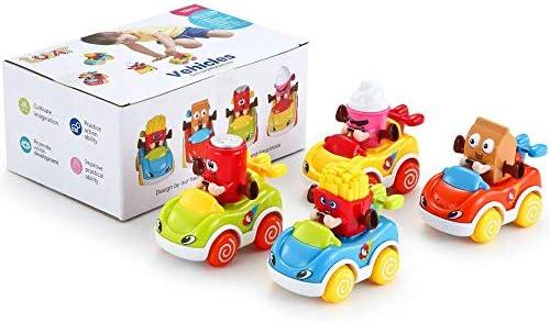 LUKAT - Pack de 4 Juguetes para bebé, Coches de Juguete para niños y niñas de 1 años (+18 meses) . Vehículos infantiles refresco, helado, patatas y leche.: Amazon.es: Juguetes y juegos