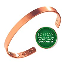 Pure Copper Magnetic Bracelet - Pain Relief Treatment For Rheumatoid Arthritis, Carpal Tunnel, RSI & More - 18,000 Gauss For Maximum Treatment - Men & Women