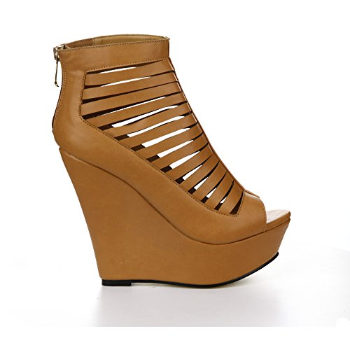 CAPE Sandals Color Wedge 9 Strappy Peep ROBBIN Toe Heel Plaform Womens 10 Size BEIGE NY LAURA PPn7xr