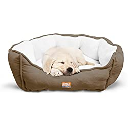 """Animal Planet Round Plush Micro Suede & Sherpa Bolster Pet Bed for Dogs & Cats, Puppies, and Small & Toy Breeds; Cuddly and Warm for Burrowing and Snuggling, Easy-to-Clean 24""""x 17""""x 9"""" Brown"""