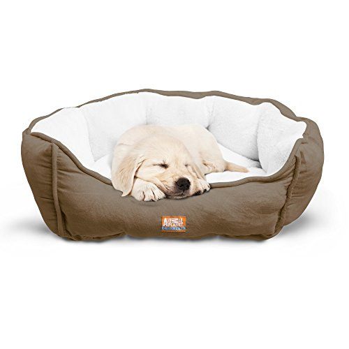 "Animal Planet Round Plush Micro Suede & Sherpa Bolster Pet Bed for Dogs & Cats, Puppies, and Small & Toy Breeds; Cuddly and Warm for Burrowing and Snuggling, Easy-to-Clean 24""x 17""x 9"" Brown by Animal Planet"