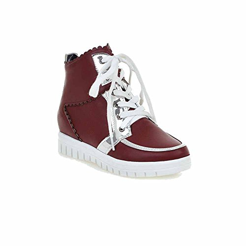 AllhqFashion Womens Ankle-high Lace-up Soft Material Kitten-Heels Round Closed Toe Boots Claret noXCxIvKR