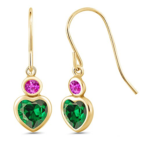 (Gem Stone King 2.26 Ct Heart Shape Green Zirconia Pink Sapphire 14K Yellow Gold Earrings)
