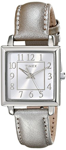 - Timex Women's | Square Dial Metallic Taupe Leather Strap | Dress Watch T2P0952M