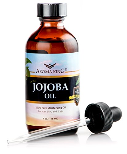 Jojoba Oil 100% Pure Natural Organic Golden Jojoba Oil, 4 OZ Amber Bottle Includes a Dropper by Aroma King - 100% Pure Moisturizing Oil, GREAT FOR HAIR, SKIN, AND SCALP