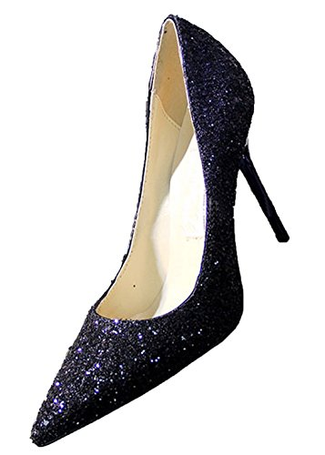 Toe Wedding Slip 9 Pure Yiuoer Women Heel High Color Pumps Pumps CM Royou On Blue Sequins 5 Pointed Stiletto 06gAaq