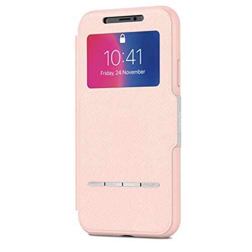 Moshi SenseCover for iPhone X - slim portfolio case with touch cover (Pink)
