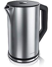 Arendo Elegante roestvrijstalen waterkoker met temperatuurinstelling 40 100 graden in 5 stappen, dubbelwandig ontwerp, elegant model, 1,5 liter, 2200 W, waterkoker met temperatuurweergave, GS, zilver