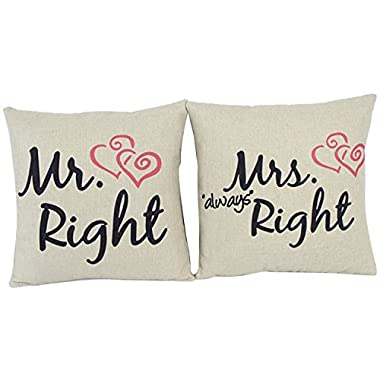Cosystore Love Theme Cotton Linen Pillow Cover Couple 18x18 (Mr Mrs Always Right Heart)