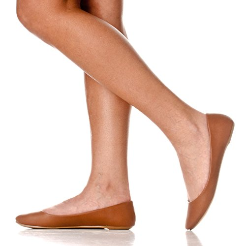 Riverberry Womens Aria Basic Chiuso Punta Rotonda Balletto Slip On Scarpa Marrone Pu