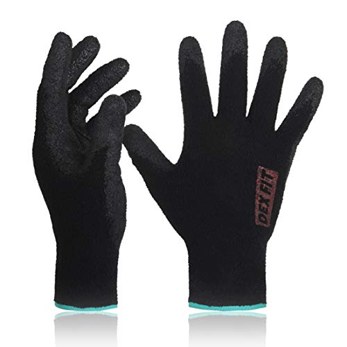 DEX FIT Black Warm Fleece Work Gloves NR450, Comfort Spandex Stretch Fit, Power Grip, Thin & Lightweight, Durable Nitrile Coated, Machine Washable, Small 3 Pairs Pack