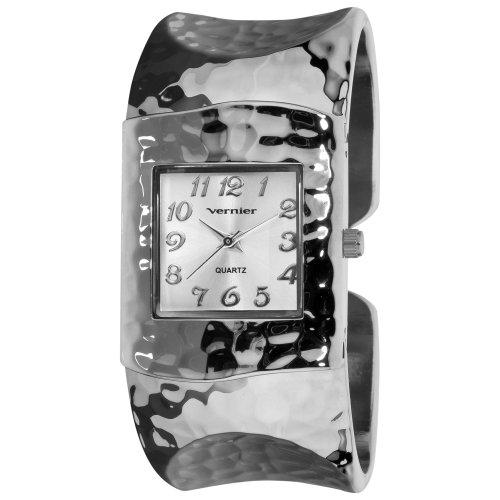 Hammered Silver Bangle - Vernier Women's VNR1832 Silver Tone Hammered Bangle Watch