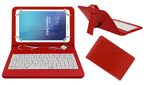 Acm USB Keyboard Case Compatible with Samsung Galaxy Tab E Sm T561 Tablet Cover StandStudy Gaming Direct Plug   Play   Red