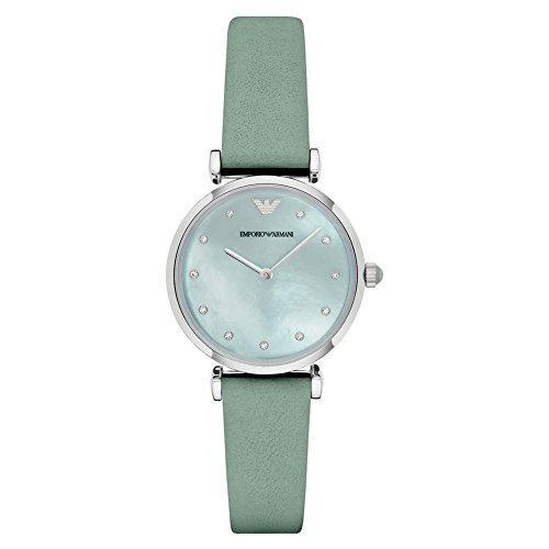 Emporio Armani AR1959 Ladies Gianni T-Bar Green Leather Strap Watch
