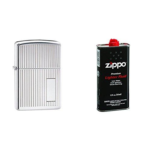 (Zippo Engine Turned HP Chrome - 350 w/ 12 oz. Lighter Fluid)