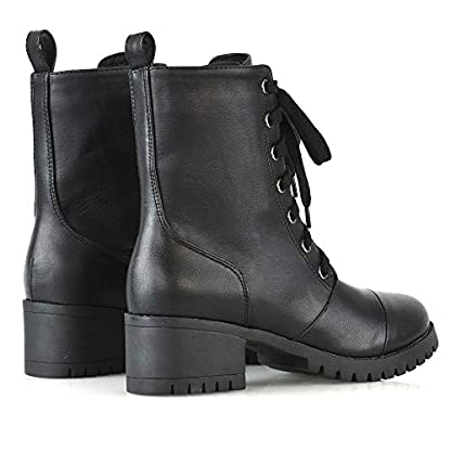 ESSEX GLAM Womens Low Heel Platform Ankle Boots Ladies Cleated Sole Combat Lace Up Shoes Size 3-8 6