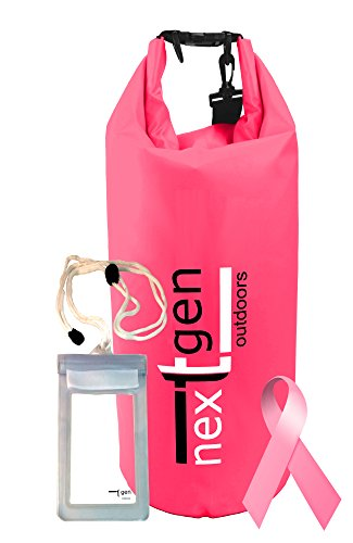 NextGen Dry Bag 17.5 Liter& Cell Phone Pouch, PINK PROMISE - Help fight Breast Cancer, Versatile, Stylish and Rugged Waterproof Sack (Pink 17.5L)