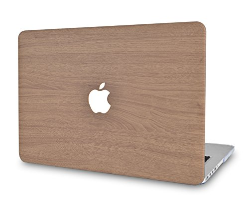 LuvCase Leather Hard Shell Cover Compatible MacBook Pro 13 inch A1989 / A1708 / A1706 with/Without Touch Bar, Newest Release 2019/2018/2017/2016 (Brown Wood)