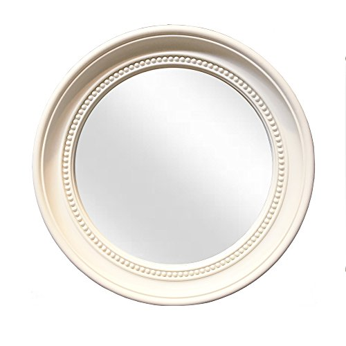 dwelling Company Round Wall Decorative Mirror in Ivory Color in Apporx.13.2x1.2Thk. for Hallway, Makeup, Bedrooms, Dressers, Bathroom, Kitchen, Country Decorations, Boho Style