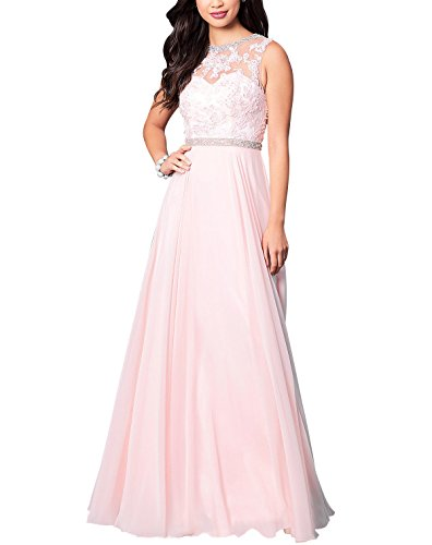 Bridal Chiffon Pink Gowns Prom Sleeveless Evening Appliques Neck Beauty Blush Long High Formal dpqIRwdf